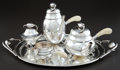 Silver Holloware, American:Tea Sets, AN AMERICAN SILVER AND IVORY BLOSSOM PATTERN TEA AND COFFEESERVICE AFTER GEORG JENSEN . Attributed to William d... (Total: 5Items)