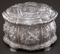 Silver Holloware, Continental:Holloware, A CONTINENTAL SILVER JEWELRY CASKET . Maker unknown, circa 1900.Marks: RC, 925. 6-3/4 inches high x 9 inches long x 6-...