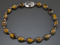 AN ANTONIO PINEDA SILVER AND TIGER'S EYE NECKLACE Antonio Pineda, Taxco, Mexico, circa 1950 Marks: ANTONIO</