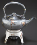 Silver & Vertu, AN AMERICAN SILVER AND MIXED METAL HOT WATER KETTLE AND STAND . Maker unknown, American, circa 1880-1885. Marks: STERLING... (Total: 3 Items)