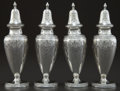 Silver Holloware, American:Other , A SET OF FOUR GRAFF, WASHBOURNE & DUNN SILVER PEPPER SHAKERS .Graff, Washbourne & Dunn, New York, New York, circa 1910.Mar... (Total: 4 Items)
