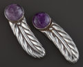 Estate Jewelry:Other , A PAIR OF WILLIAM SPRATLING SILVER AND AMETHYST HAIR CLIPS .William Spratling, Taxco, Mexico, circa 1950. Marks: WS, SPRA...(Total: 2 Items)