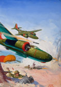 Pulp, Pulp-like, Digests, and Paperback Art, GEORGE ROZEN (American, 1895-1974). Yesterday's Pilot, SkyFighters pulp cover, Fall 1946. Oil on canvas. 21 x 17 in..S...