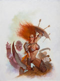 Pulp, Pulp-like, Digests, and Paperback Art, DANIEL HORNE (American, 20th Century). Warrior Queens 2, AGallery Girls Collection cover, 2006. Acrylic on masonite.24...