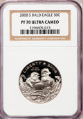 Modern Issues, (2)2008-S 50C Bald Eagle PR 70 Deep Cameo NGC. ... (Total: 2 coins)