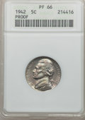 Proof Jefferson Nickels, 1942 5C Type One PR66 ANACS. NGC Population (1297/328). NGC Census:(741/293). Mintage: 29,600. Numismedia Wsl. Price for p...