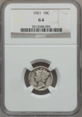 Mercury Dimes: , 1921 10C Good 6 NGC. NGC Census: (34/388). PCGS Population(91/678). Mintage: 1,230,000. Numismedia Wsl. Price for problem ...
