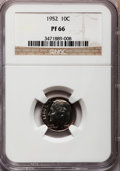 Proof Roosevelt Dimes: , 1952 10C PR66 NGC. NGC Census: (223/467). PCGS Population(661/445). Mintage: 81,980. Numismedia Wsl. Price for problemfre...