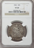 Seated Half Dollars: , 1862 50C VF20 NGC. NGC Census: (1/62). PCGS Population (0/108).Mintage: 253,000. Numismedia Wsl. Price for problem free NG...
