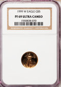 Modern Bullion Coins: , 1999-W G$5 Tenth-Ounce Gold Eagle PR69 Ultra Cameo NGC. NGC Census:(1284/410). PCGS Population (2230/111). Numismedia Wsl...