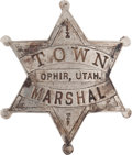 Western Expansion:Cowboy, The Old West: Utah Marshal's Badge....