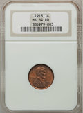 Lincoln Cents: , 1913 1C MS64 Red NGC. NGC Census: (200/178). PCGS Population(208/217). Mintage: 76,532,352. Numismedia Wsl. Price for prob...