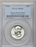 Washington Quarters: , 1959 25C MS66 PCGS. Ex: Omaha Bank Hoard. PCGS Population (591/3).NGC Census: (841/64). Mintage: 24,300,000. Numismedia Ws...