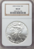 Modern Bullion Coins, 2005 $1 Silver Eagle MS69 NGC. NGC Census: (103104/3441). PCGSPopulation (7096/28). Numismedia Wsl. Price for problem fre...