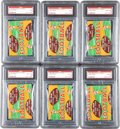 Football Cards:Boxes & Cases, 1954 Bowman Football 1-Cent Unopened PSA-Graded Wax Pack Group (6)....