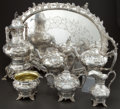 Silver Holloware, American:Tea Sets, A SIX PIECE C. BARD & SON COIN SILVER PRESENTATION TEA SERVICEWITH SILVER-PLATED TRAY . Conrad Bard & Son, Philadelphia,Pe... (Total: 7 Items)