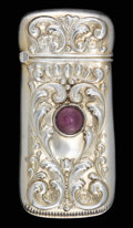 Silver Smalls:Match Safes, AN AMERICAN SILVER AND AMETHYST MATCH SAFE . Maker unknown, circa1880. Marks: STERLING, 925, FINE. 2-1/4 inches high (5...
