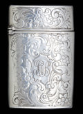Silver Smalls:Match Safes, A GILBERT SILVER MATCH SAFE . F.S. Gilbert, North Attleboro,Massachusetts, circa 1880. Marks: G, STERLING . 2-1/4inche...
