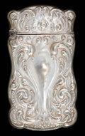 Silver Smalls:Match Safes, AN AMERICAN SILVER MATCH SAFE . Maker unknown, American, circa1890. Marks: STERLING SILVER . 2-3/8 inches high (5.9 cm)...