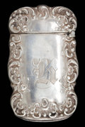 Silver Smalls:Match Safes, A WATROUS SILVER MATCH SAFE . Watrous Mfg. Co., Wallingford,Connecticut, circa 1880. Marks: (crescent with W), STERLING,...