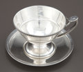 Silver Holloware, American:Cups, AN ALBERT COLES SILVER MEDALLION PATTERN CUP AND SAUCER .Albert Coles & Co., New York, New York, circa 1862. Ma...(Total: 2 Items)