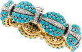 Estate Jewelry:Bracelets, Turquoise, Diamond, Gold Bracelet. ...