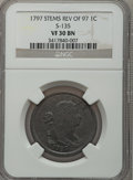 Large Cents, 1797 1C Reverse of 1797, Stems VF30 NGC. S-135, B-5, R.3....