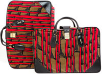 Heritage Vintage: Roberta Di Camerino Red and Green Velvet Luggage Set