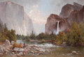 Paintings, THOMAS HILL (British/American, 1829-1908). Fishing in the Yosemite Valley, 1891. Oil on canvas. 36-1/2 x 53-1/2 inches (...
