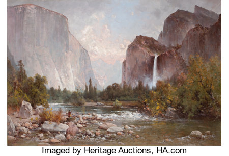 THOMAS HILL (British/American, 1829-1908)Fishing in the Yosemite Valley, 1891Oil on canvas36-1/2 x 53-1/2 inches (...