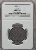 Large Cents, 1801 1C VF25 NGC. S-224, B-13, R.1....