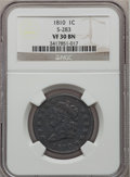 Large Cents, 1810 1C VF30 NGC. S-283, B-4, R.2....