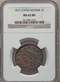 Large Cents, 1823 1C Copper Restrike MS62 Brown NGC. N-3, R.2....