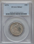 Seated Quarters, 1870 25C MS62 PCGS....
