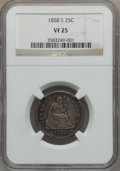 Seated Quarters, 1858-S 25C VF25 NGC....