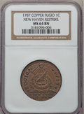 Colonials, 1787 1C Fugio Cent, New Haven Restrike, Copper MS64 Brown NGC. N.104-FF, W-17560....