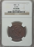 Large Cents, 1801 1C VF30 NGC. S-216, B-6, R.2....