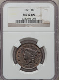Large Cents, 1827 1C MS62 Brown NGC. N-11, R.1....