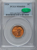 Lincoln Cents, 1924 1C MS66 Red PCGS. CAC....