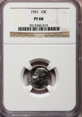 Proof Roosevelt Dimes: , 1951 10C PR68 NGC. NGC Census: (139/6). PCGS Population (30/7).Mintage: 57,500. Numismedia Wsl. Price for problem free NGC...