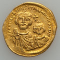 Ancients:Byzantine, Ancients: Heraclius with Heraclius Constantine (AD 610-641). AVsolidus (4.37 gm)....