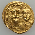 Ancients:Byzantine, Ancients: Heraclius with Heraclius Constantine (AD 610-641). AV solidus (4.47 gm)....