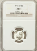 Roosevelt Dimes: , 1955-S 10C MS66 NGC. NGC Census: (1387/698). PCGS Population(1500/73). Mintage: 18,510,000. Numismedia Wsl. Price for prob...