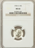 Roosevelt Dimes: , 1955-S 10C MS66 NGC. NGC Census: (1386/698). PCGS Population(1500/73). Mintage: 18,510,000. Numismedia Wsl. Price for prob...