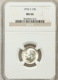 Roosevelt Dimes: , 1955-S 10C MS66 NGC. NGC Census: (1387/698). PCGS Population(1501/73). Mintage: 18,510,000. Numismedia Wsl. Price for prob...