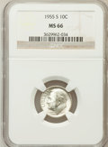 Roosevelt Dimes: , 1955-S 10C MS66 NGC. NGC Census: (1288/696). PCGS Population(1493/73). Mintage: 18,510,000. Numismedia Wsl. Price for prob...