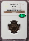 Proof Shield Nickels, 1866 5C Rays PR64+ NGC. CAC....
