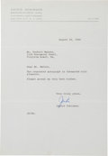 Autographs:Letters, 1964 Jackie Robinson Signed Letter....