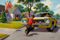 Mainstream Illustration, ARTHUR SARON SARNOFF (American, 1912-2000). Safety First.Oil on canvas. 26 x 39 in.. Signed lower right. ...