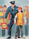 Mainstream Illustration, WILLIAM MEDCALF (American, 20th Century). School Patrol.Gouache on board. 20 x 16 in.. Not signed. ...